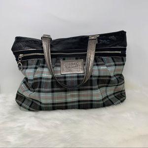 COACH Poppy tartan plaid purse metallic bag